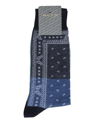 Alto Socks Alto Socks  Etnik Desenli Erkek Çorap 101643907 Mavi